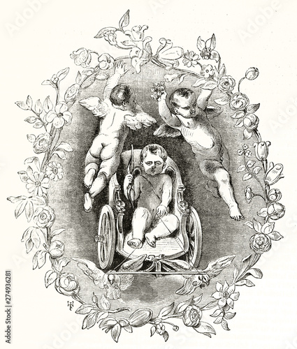 Photo Cupid on a flying cart heading to the viewer