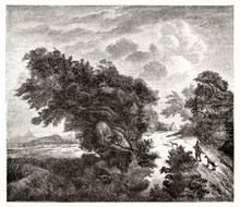 """Very Big Bended Bush And A Little Man Heading Towards It With Two Dogs. Old Reproduction Of A Painting Titled  """"Le Buisson"""" (The Bush). After Ruisdael Publ. On Magasin Pittoresque Paris 1848"""