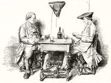 Two Medieval Elegant People Playing Card On A Little Table And Drinking Wine. Old Gray Tone  Illustration Depicting Two Card Players. After Messoinier Publ. On Magasin Pittoresque Paris 1848