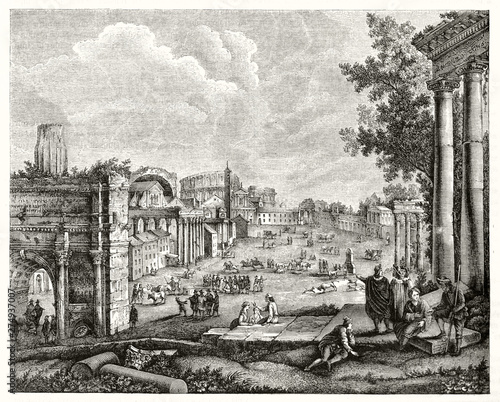 Valokuvatapetti Panoramic view of the ruins of imperial roman forum in the middle ages, depicted in grayscale etching style