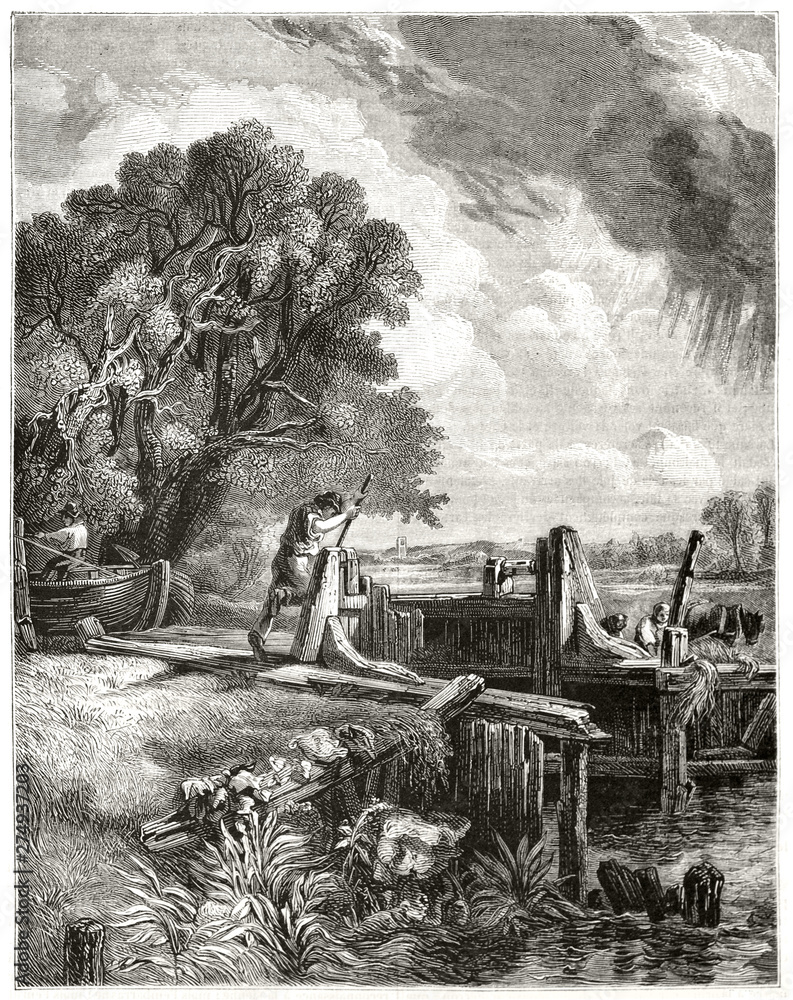 Man managing a lock along a river surrounded by the nature. Wonderful etching style illustration with gray tones made by hatching textures. By Marvy publ. on Magasin Pittoresque Paris 1848