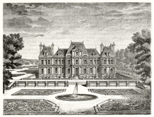 Center Front View View Of The Chateau De Maisons France And The Suroounding Wonderful Garden. Ancient Etching Style Graytone Illustration By Desmarest And Brugnot, Magasin Pittoresque Paris 1848