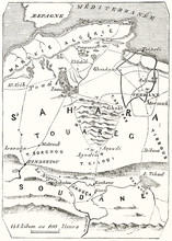 Old Map Vertical Oriented Of Central Sahara (with J.M..Richardson Itinerary). Vintage Style Grayscale Illustration By MacCarthy Publ. On Magasin Pittoresque Paris 1848