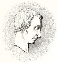 Profile Head Of Guillaume Louis Bocquillon Known As Wilhelm (1781 - 1842) French Composer Philanthropist Pedagogue. Illustration Reproducing A Bas Relief Style Publ. On Magasin Pittoresque 1848