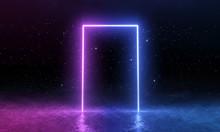 3d Render, Blue Pink Neon Door...