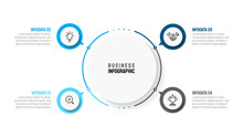 Business Infographic Template With 4 Step, Option, Circle And Marketing Icons. Can Be Used For Workflow Diagram, Annual Report, Presentation Or Web Design. Vector Eps10 Illustration.