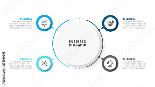 Cuadros en Lienzo Business infographic template with 4 step, option, circle and marketing icons