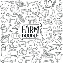 Farm Animals Traditional Doodle Icons Sketch Hand Made Design Vector