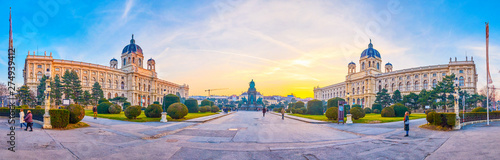 Panorama of Maria Theresien Platz in Vienna, Austria Wallpaper Mural