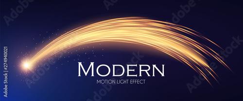 Obraz Shining Star with Golden Trail. Magic Motion. Fireworks Effect. - fototapety do salonu