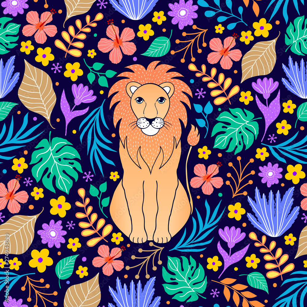 Fototapety, obrazy: lion and tropical flowers