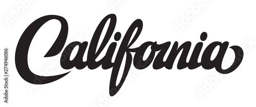 Obraz na plátne Vector illustration with calligraphic lettering California on white background