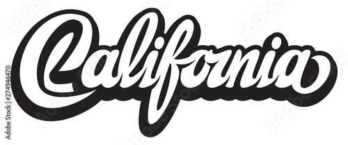Fotografia Vector illustration with calligraphic lettering California on white background