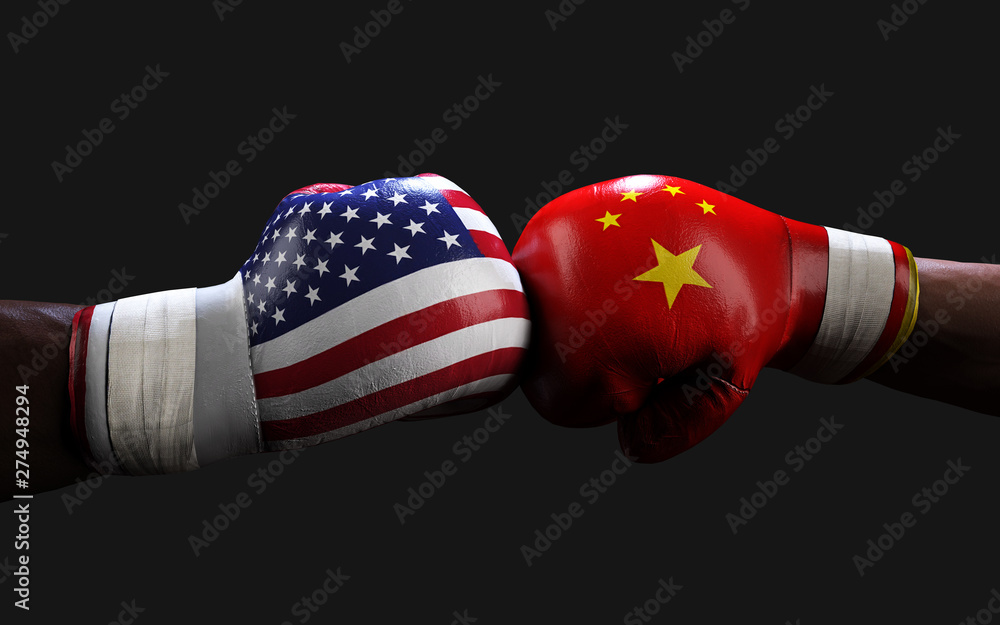 Fototapety, obrazy: Concept of trade war between USA and China. 3d illustration two boxer fighting US and China flag trading punches for the concept: Trade War.