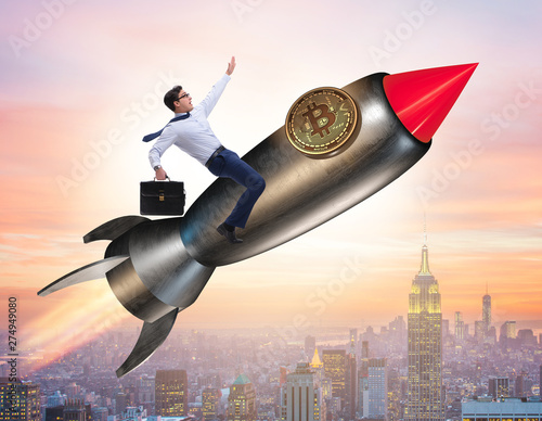 Poster Dogs Businessman flying on rocket in bitcoin price rising concept