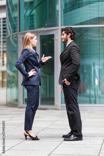 Business partners discussing together outdoor