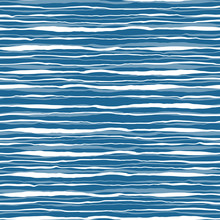 Vector Blue Ocean Waves Seamless Pattern. Hand Drawn Water Stripes Tile. Wavy Aqua All Over Print For Nautical Textile, Maritime Home Decor. Coastal Background.