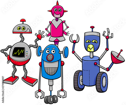 Fototapeta robots or droids cartoon characters group