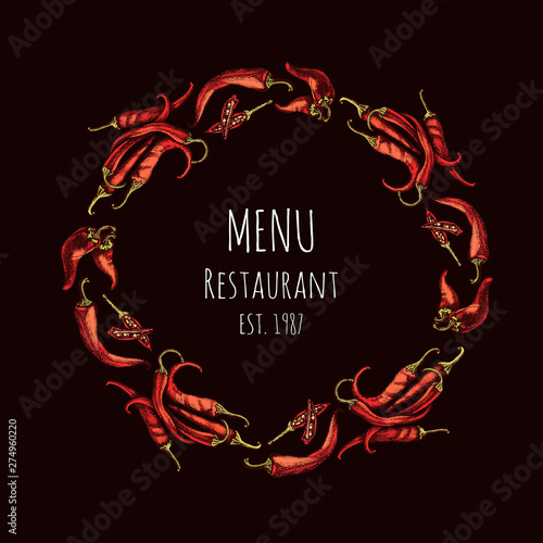 Restaurant card menu with chilli pepper. Canvas Print