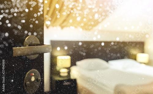 Blurred Bedroom interior design background