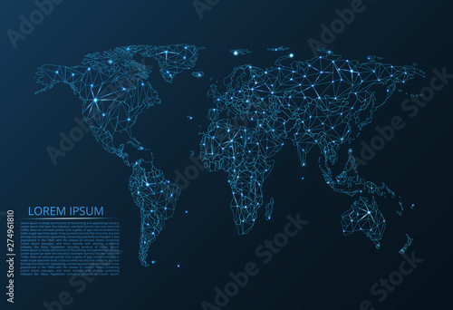 Map of the world communication network. Vector low-poly image of a global map with lights in the form of cities of the world consisting of points and figures in the form of stars and space