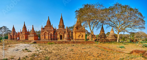 Panorama of Bagan landmarks, Myanmar Wallpaper Mural