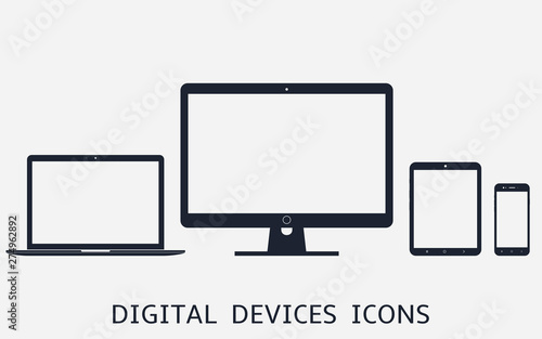 Pinturas sobre lienzo  Set of digital devices icons vector illustration of responsive web design