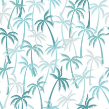Coconut Palm Tree Pattern Textile Seamless Tropical Forest Background. Fashionable Vector Fabric Repeating Pattern. Simple Tropical Plants, Coconut Trees, Beach Palms Textile Background Design.