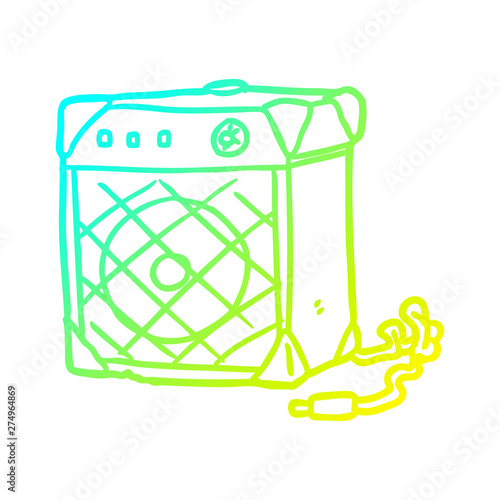 cold gradient line drawing electric guitar amp Canvas Print