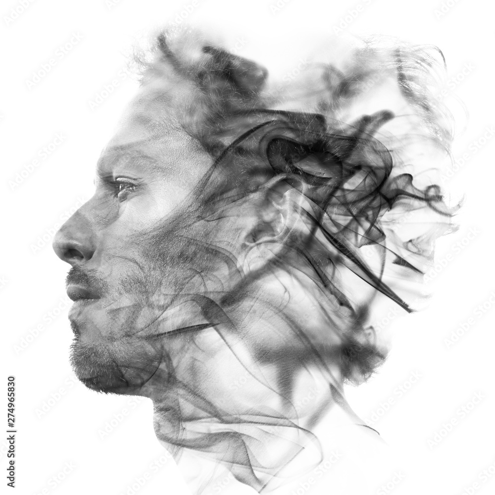 Fototapety, obrazy: Double exposure portrait of a sexy statuesque man with dark features blending into a curtain of smoke