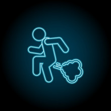 Man Fart Neon Icon. Simple Thin Line, Outline Vector Of Universal Icons For UI And UX, Website Or Mobile Application