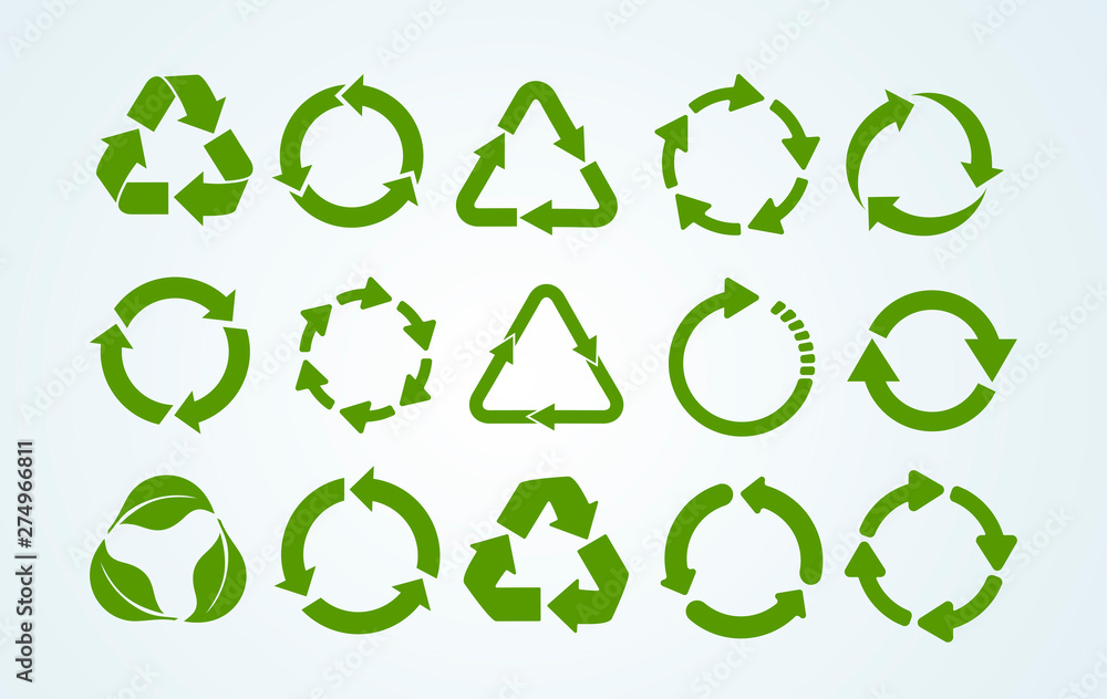 Fototapeta Big set of Recycle icon. Recycle Recycling symbol. Vector illustration. Isolated on white background.