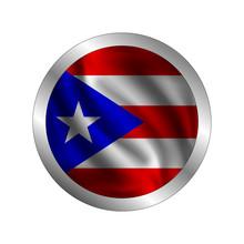 Waving Puerto Rico Flag, The Flag Of Puerto Rico, Vector Illustration