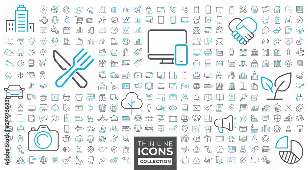 Fototapety, obrazy: Thin line icons collection