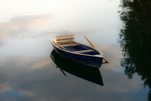 Image Of Wooden Rowing Boat On Lake