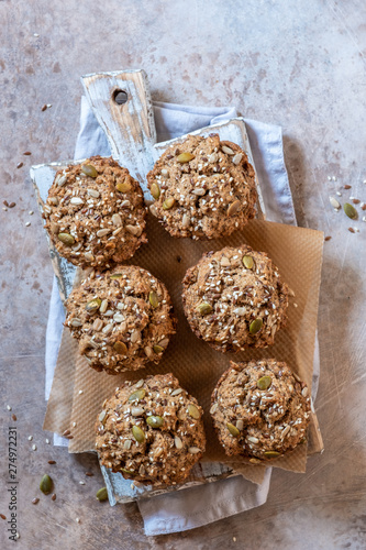 Healthy muffins with fall spices and pumpkin seeds