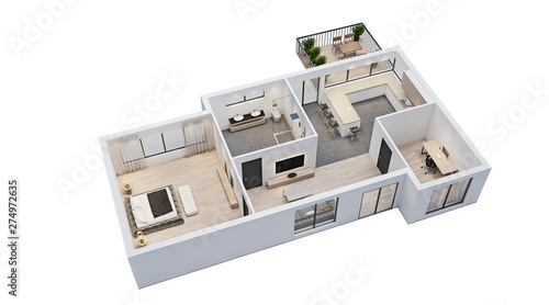 Fototapeta modern interior design, isolated floor plan with white walls, blueprint of apartment, house, furniture, isometric, perspective view, 3d rendering obraz