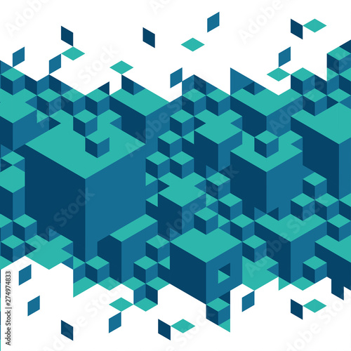 Photo  Cubes and blocks impossible puzzle Escher illustration