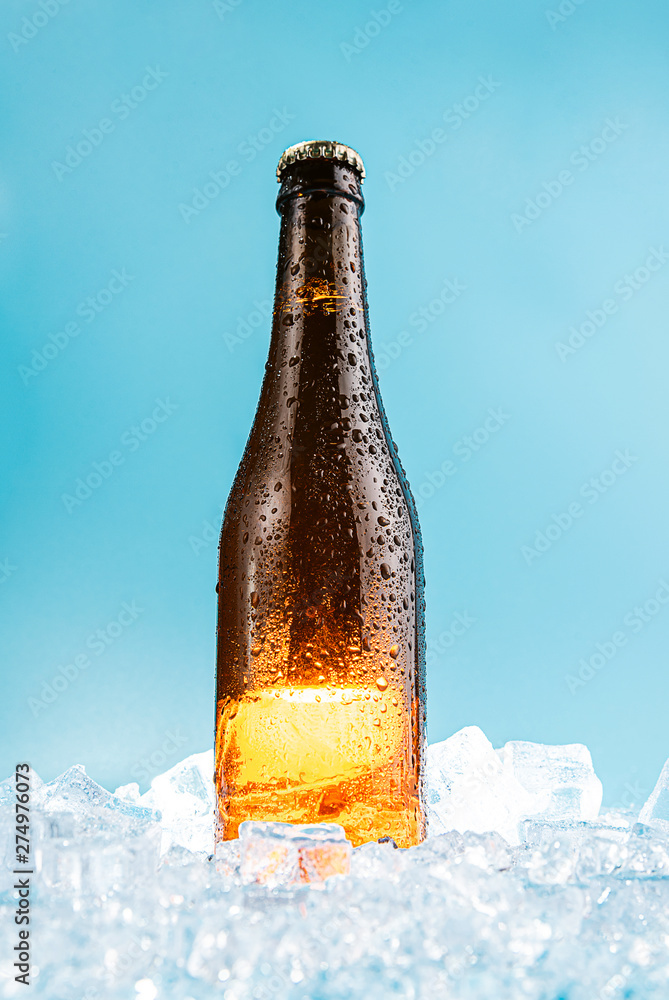 Fototapety, obrazy: closed brown glass beer bottle on ice