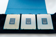 Directly Above View Of Three New Powerful New Professional CPU Processor
