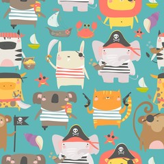 Seamless pattern with cute animals with pirate and sailor attributes style