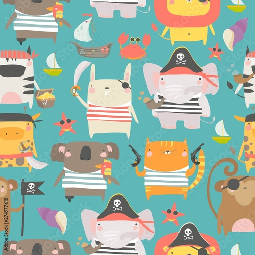 Photo Seamless pattern with cute animals with pirate and sailor attributes style