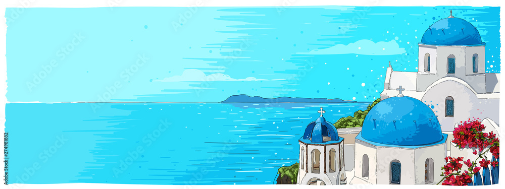 Fototapeta Greece summer island landscape with traditional greek church. Santorini hand drawn vector horizontal background. Picturesque sketch. Ideal for cards, invitations, banners, posters.