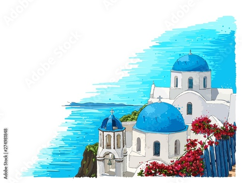 Fototapeta Greece summer island landscape with traditional greek church. Santorini hand drawn vector horizontal background. Picturesque sketch. Ideal for cards, invitations, banners, posters. obraz