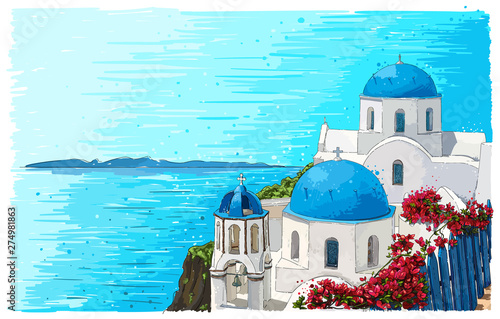 Greece summer island landscape with traditional greek church. Santorini hand drawn vector horizontal background. Picturesque sketch. Ideal for cards, invitations, banners, posters.
