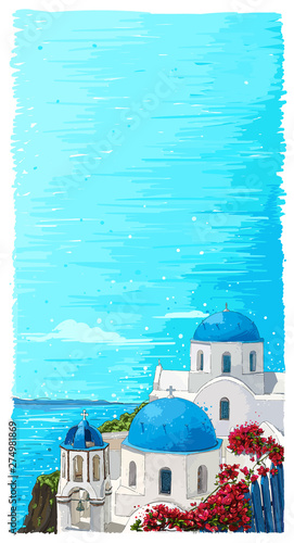 Montage in der Fensternische Turkis Greece summer island landscape with traditional greek church. Santorini hand drawn vector vertical background. Picturesque sketch. Ideal for cards, invitations, banners, posters.