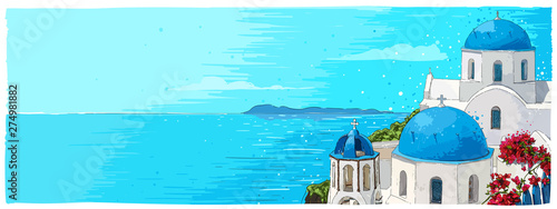 Greece summer island landscape with traditional greek church Wallpaper Mural