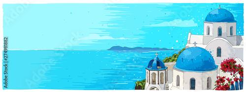 Greece summer island landscape with traditional greek church Canvas Print