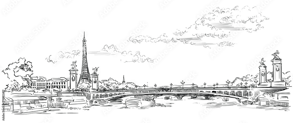 Fototapety, obrazy: Vector hand drawing Paris 4