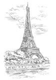 Fototapeta Fototapety z wieżą Eiffla - Vector hand drawing Paris 1